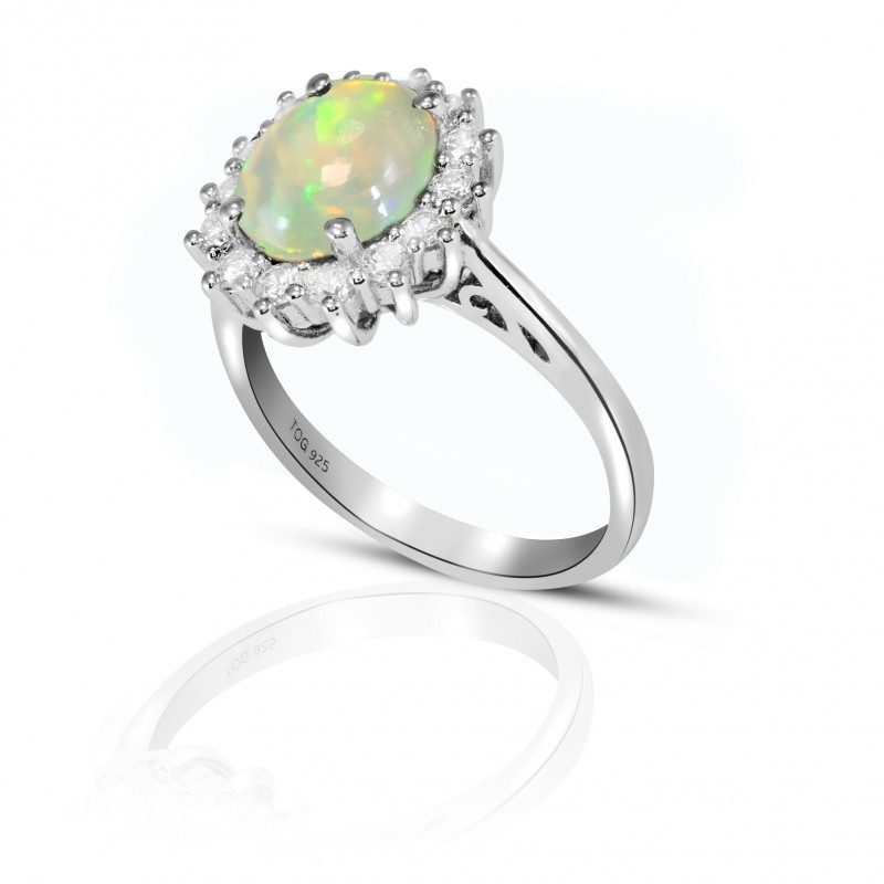 Sensational Opal and White Topaz Ring set in Sterling Silver