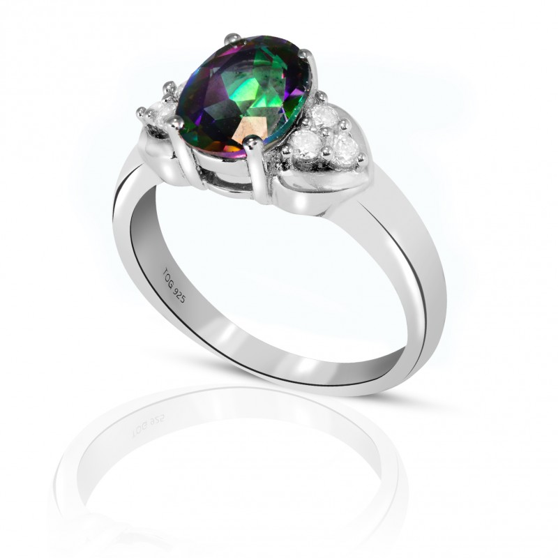 Stuning Rainbow Topaz with White Topaz Ring set in Sterling Silver