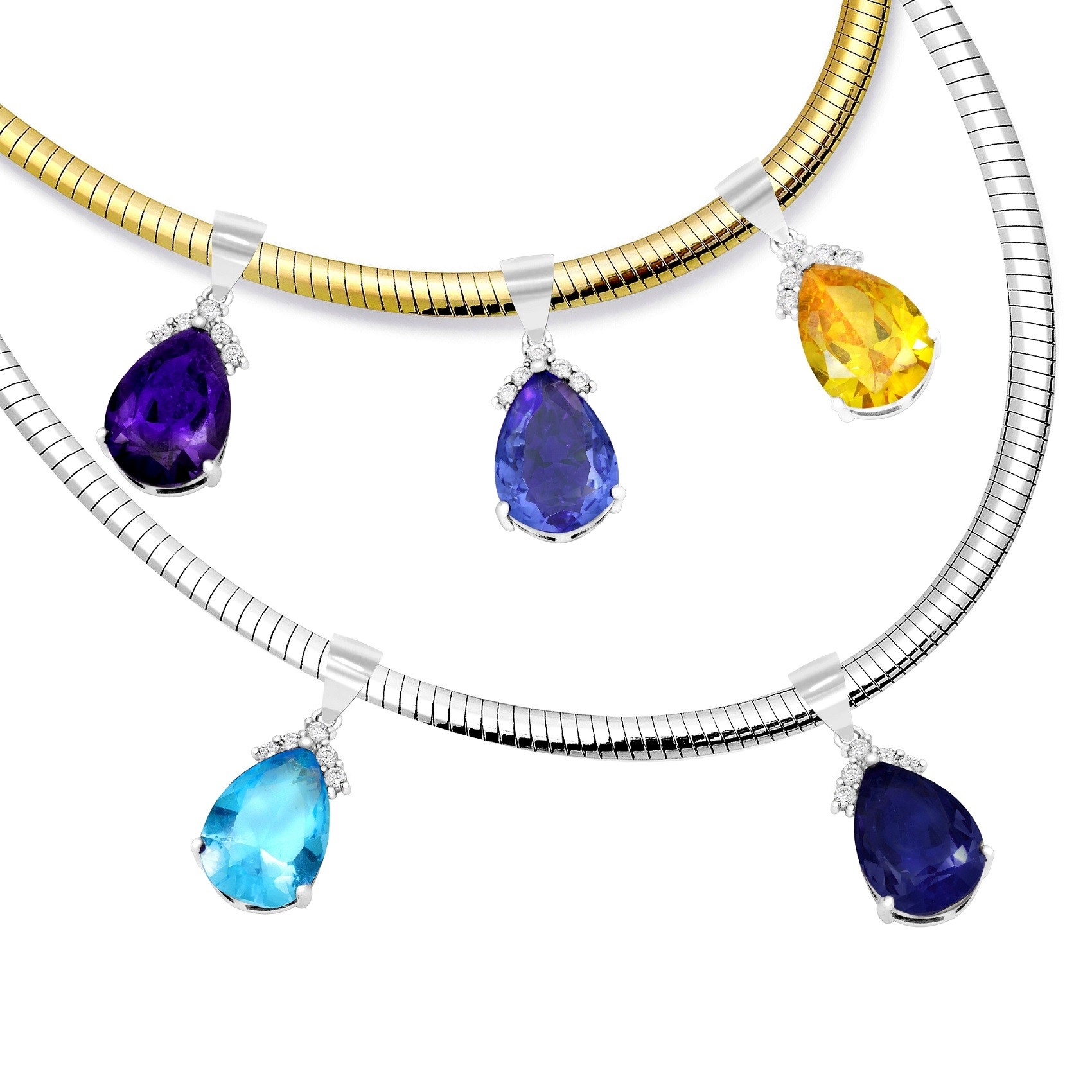 4 m Layered Reversible Omega 14 Karat Gold wit 925 Silver with Free 8.5 Carat choose of 5 different color Topaz Tear Drop Pendant $60.00 Value