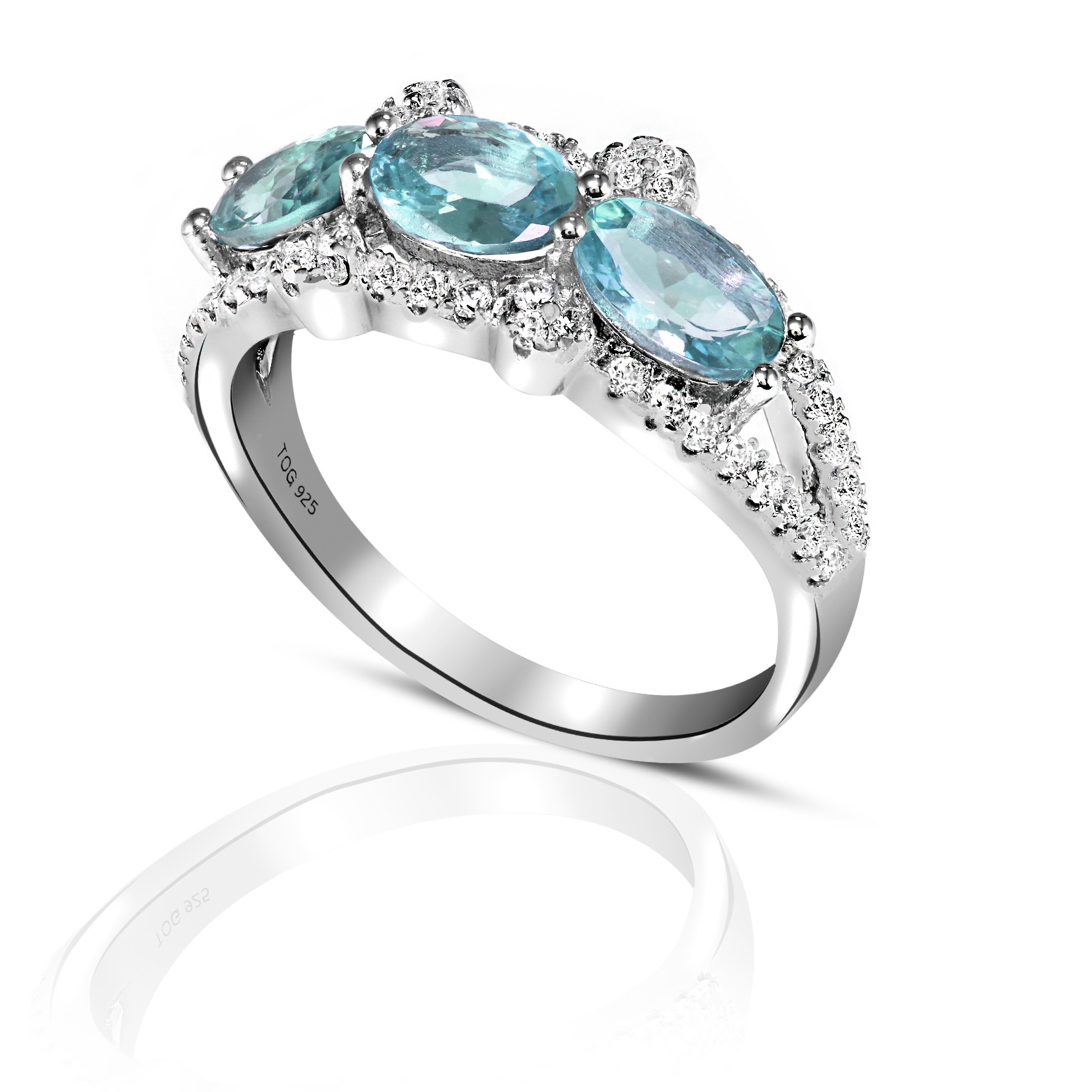 Lovely Aquamarine and White Topaz Ring set in Sterling Silver