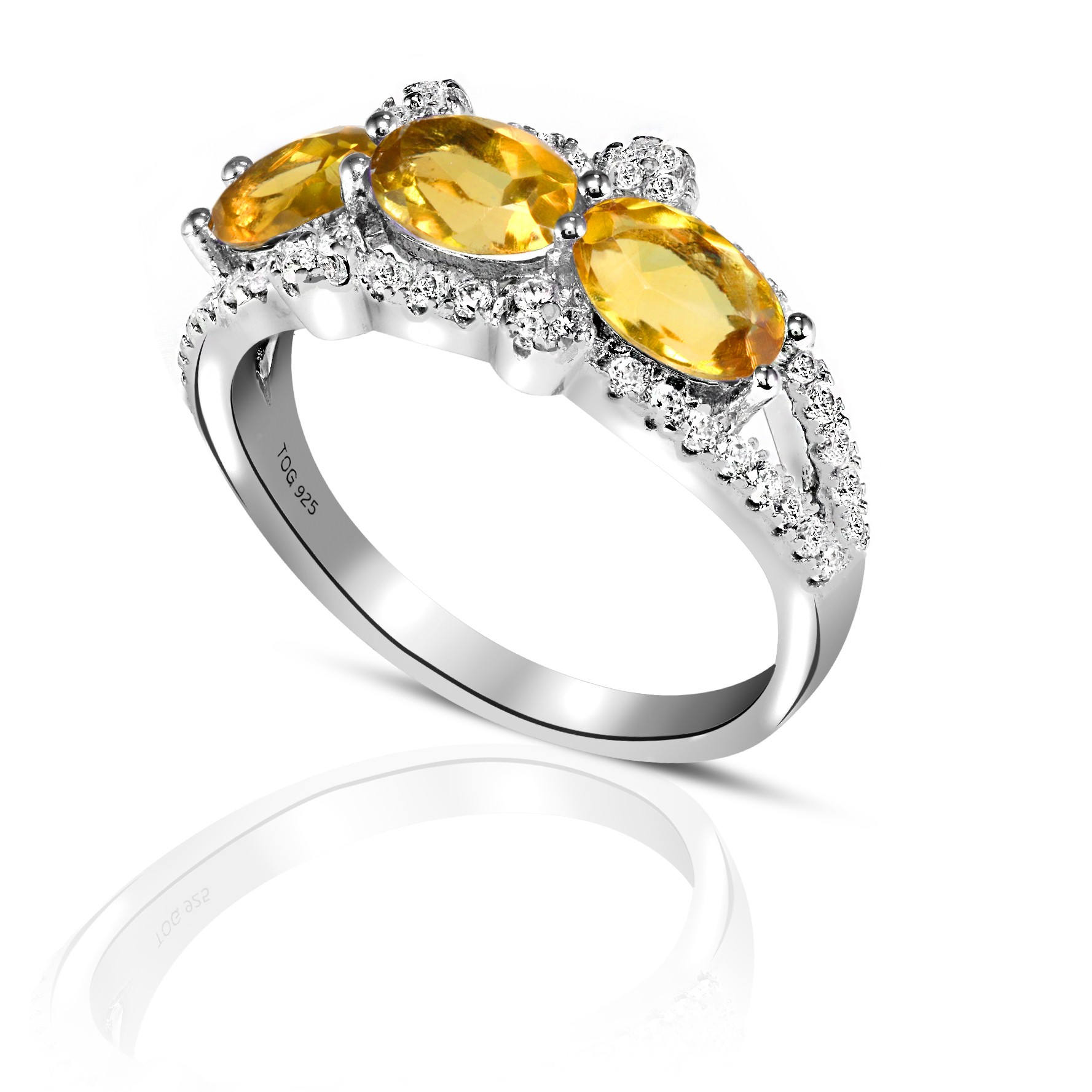 Colorful Yellow Sapphire and White Topaz Ring set in Sterling Silver