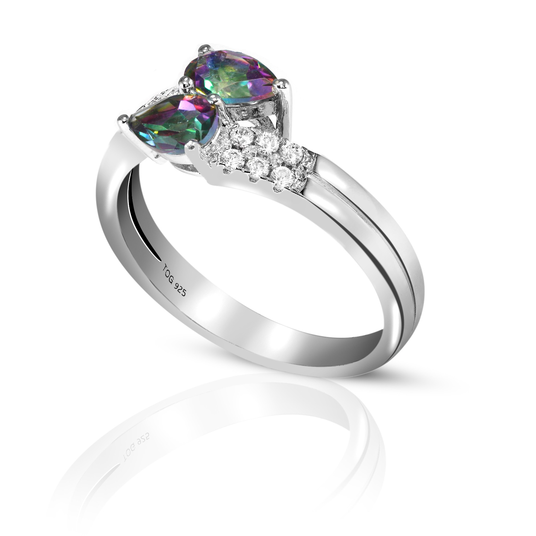 Captivating Rainbow and White Topaz Ring Set in Sterling Silver
