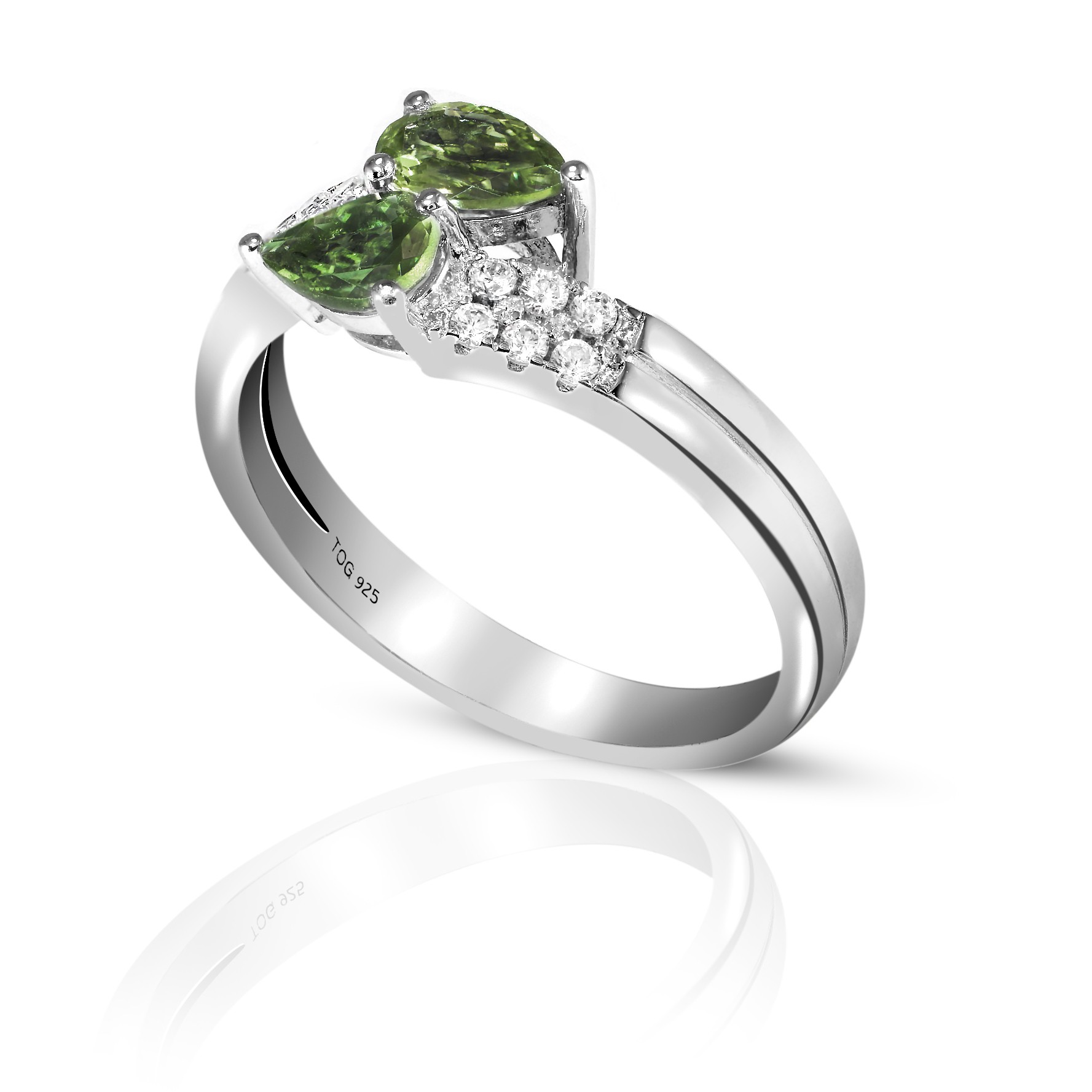 Gorgeous Green Sapphire and White Topaz Ring set in Sterling Silver