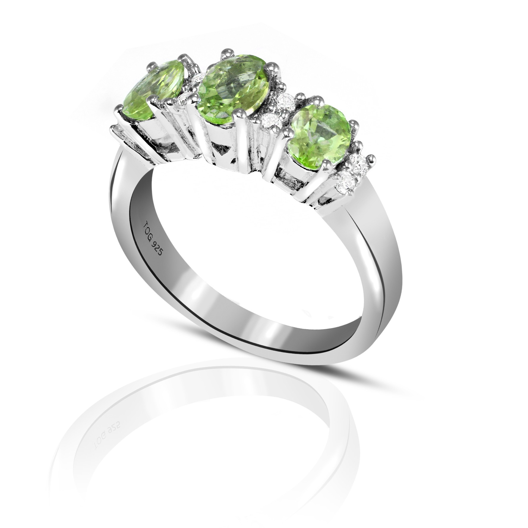 Charming Tourmaline and White Topaz Ring set in Sterling Silver