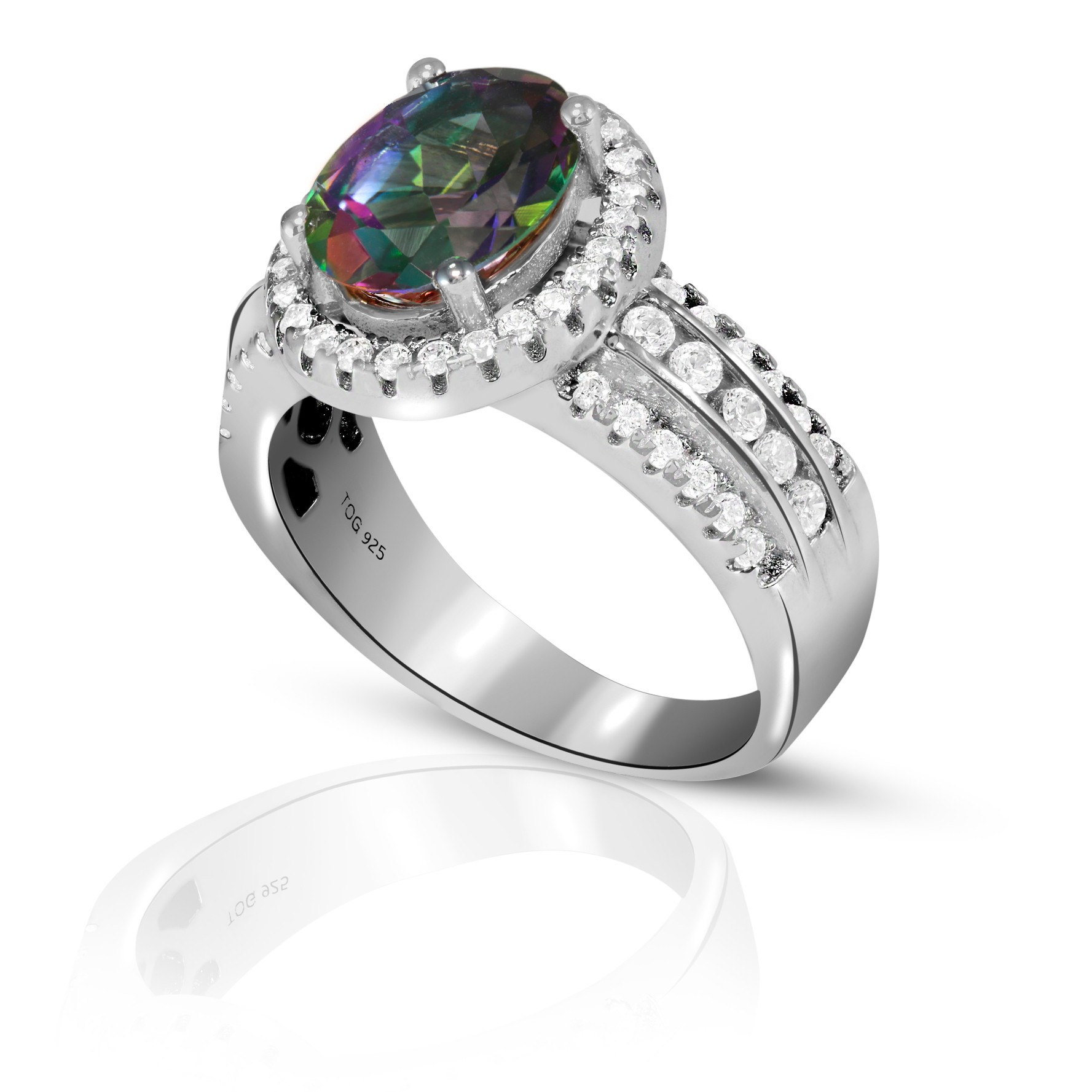Sparkling Rainbow and White Topaz Ring set in Sterling Silver