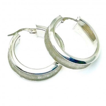 14 Karat White Satin Gold Medium Hoop Earrings