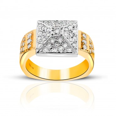 Glittering 14 Karat Two Tone Yellow and White Gold Pave Diamond Style Ring