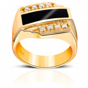 Stylish Onyx Men's Ring with Full cut Diamond Channel-set Men's Ring 14 Karat Yellow Gold