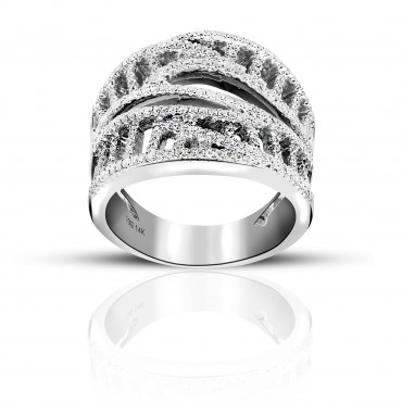 Lovely Keepsake 14 Karat White Gold Special Edition design Pave style Cocktail Ring