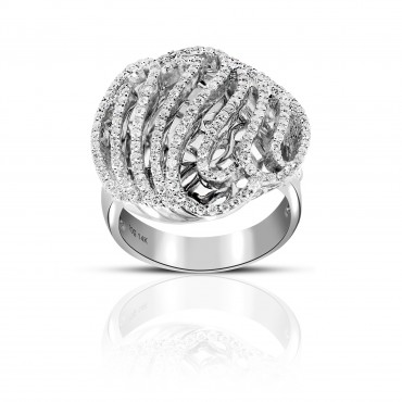 Classy handcrafted 14 Karat White Gold Pave Style Cocktail Ring Full cut Diamond Cocktail Ring