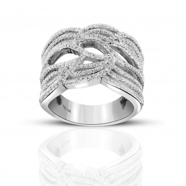 Finely detailed 14 Karat White gold Cross over Cocktail Pave Style Ring with Full cut Diamonds