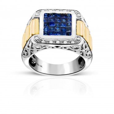 Vintage Style Blue Sapphire Invisible Princess-cut Men's Ring with Pave Diamonds Two Tone 14 Karat Yellow and White Gold