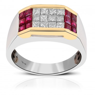 Ruby and white diamond men's band