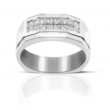 Men's Double Row Invisible Princess-cut Men's Diamond Wedding Band 14 Karat White Gold
