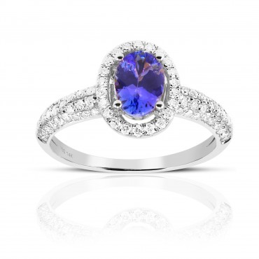 Oval Tanzanite with Halo and Pave' Diamond accent Ring 14 Karat White Gold