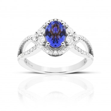 Art Deco Inspired Oval Tanzanite with Pave' Full cut Diamond accent Ring 14 Karat White Gold