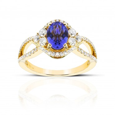 Art Deco Inspired Oval Tanzanite with Pave' Full cut Diamond accent ring 14 Karat Yellow Gold