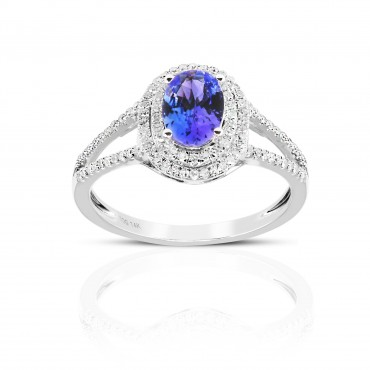 Split Shank style Oval Tanzanite double-halo and Pave' Diamond accent ring 14 Karat White Gold