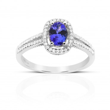 Twin Shank Oval style Tanzanite halo and Pave' Diamond accent  ring 14 Karat White Gold