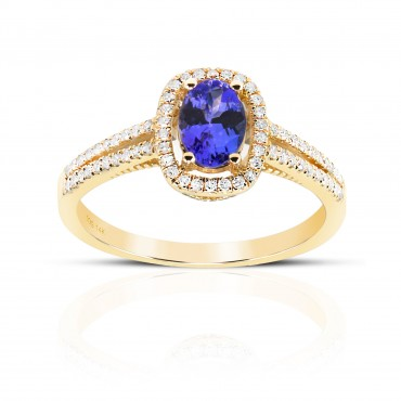 Twin Shank Oval Tanzanite halo and Pave' Diamond accent ring 14 Karat Yellow Gold