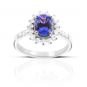 Oval Style Tanzanite halo and Pave' Full cut Diamond accent Ring 14 Karat White Gold