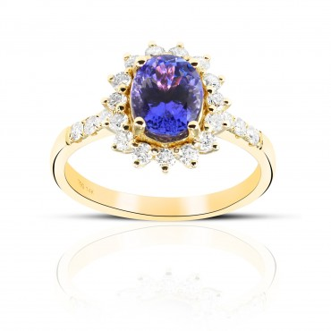 Oval Style Tanzanite halo and Pave' Full cut Diamond accent Ring 14 Karat Gold