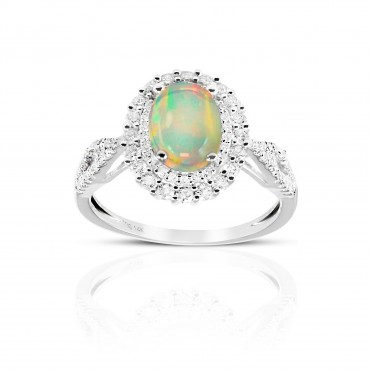Vintage Split Shank Oval Opal double halo ring with Pave' Diamond accents 14 Karat White Gold