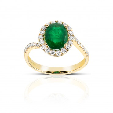 Oval Style Emerald halo ring with Pave' Full cut Diamond accents 14 Karat Yellow Gold