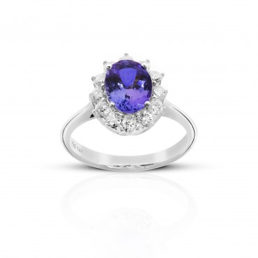 Oval Tanzanite Ring with Floral Halo Full cut Diamonds 14 Karat White Gold