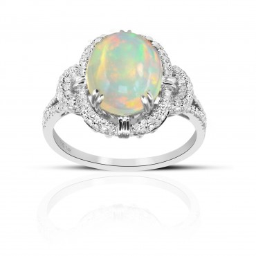 Vintage inspired Oval Opal ring with Pave' Diamond accents 14 Karat White Gold