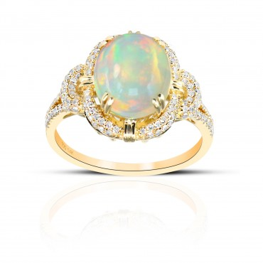 Vintage inspired Oval Opal ring with Pave' Diamond accents 14 Karat Yellow Gold