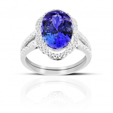 Split Shank Oval Tanzanite halo and Pave' Diamond accent Cocktail ring 14 Karat White Gold