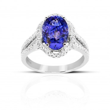 Twin Shank Oval Style Tanzanite with halo and Pave' Diamond accent Cocktail ring 14 Karat White Gold
