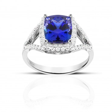 Split Shank Classic Cushion Tanzanite halo and Pave' Diamond accents Cocktail ring 14 Karat White Gold