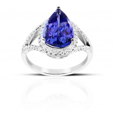 Split Shank Pear Shaped Tanzanite halo Cocktail ring with Pave' Diamond accents 14 Karat White Gold