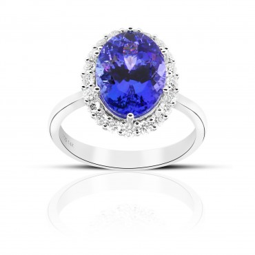 Oval Style Tanzanite halo Cocktail ring with Full cut Diamonds 14 Karat White Gold