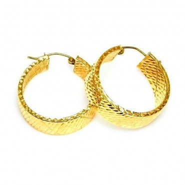 14 Karat Rose Gold Diamond Cut Small Hoop Earrings