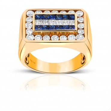 Dramatic Blue Sapphire Invisible Princess-cut Men's Ring with Channel-Set Diamonds 14 Karat Yellow Gold