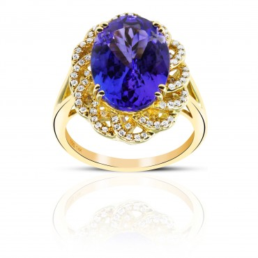 Vintage style Oval Tanzanite with Pave accent Diamonds Cocktail ring 14 Karat Yellow Gold