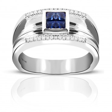 Invisible Princess-cut Blue Sapphire Men's Wedding Band with Pave' Diamonds 14 Karat White Gold