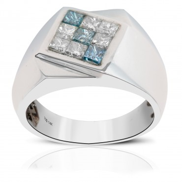 Princess cut blue and white diamonds set in 14 kt white gold