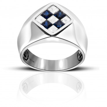 Stylish Blue Sapphire and Diamond Invisible Princess-cut Men's Ring 14 Karat White Gold