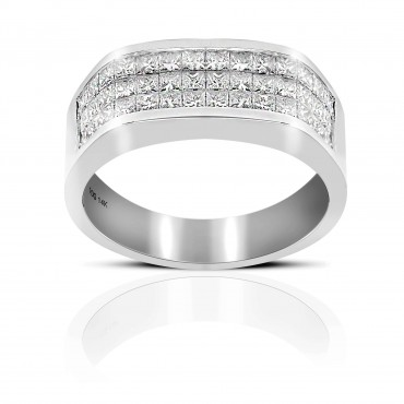 Men's Triple row Invisible Princess-cut Diamond Wedding Band 14 Karat White Gold