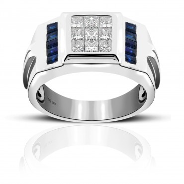 Bold Blue Sapphire Baguettes with Invisible Princess-cut Diamonds Men's Ring 14 Karat White Gold