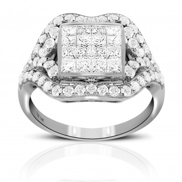 BEAUTIFUL VINTAGE PAVE AND INVISIBLE PRINCESS-CUT DIAMOND COCKTAIL RING 14 KARAT WHITE GOLD