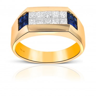 Sleek Blue Sapphire and Diamond Invisible Princess-cut Men's Ring 14 Karat Yellow Gold