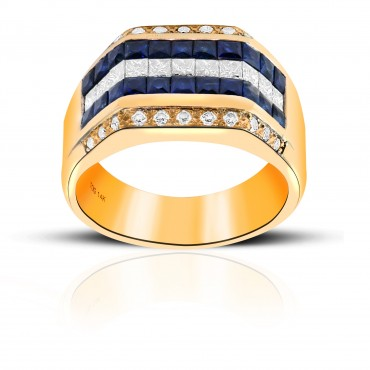 Sophisticated Blue Sapphire and Diamond Invisible Princess-cut with Pave Diamond accents Men's ring 14 Karat Yellow Gold