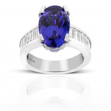 Oval Solitaire Tanzanite Cocktail ring with Baguette Diamond accents 14 Karat White Gold