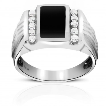 Sporty Onyx Men's Ring with Double Channel-set Full cut Round Diamonds 14 Karat White Gold