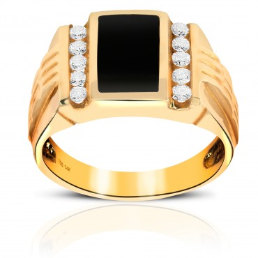 Striking Onyx Men's Ring with Double Channel-set Full cut Round Diamonds 14 Karat Yellow Gold